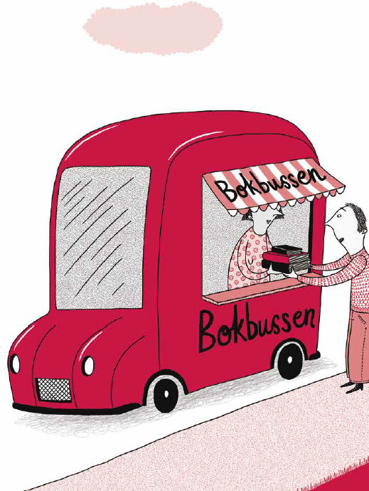 Illustration med bokbuss